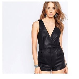 Free People Moonlight black faux leather romper